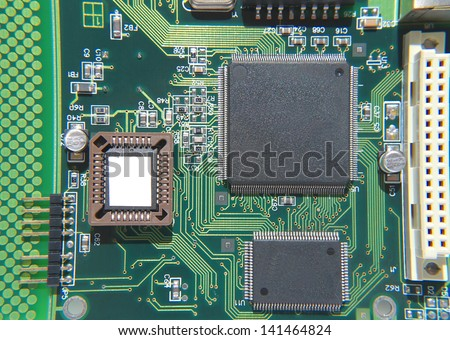Abstract background with old computer circuit board - stock photo