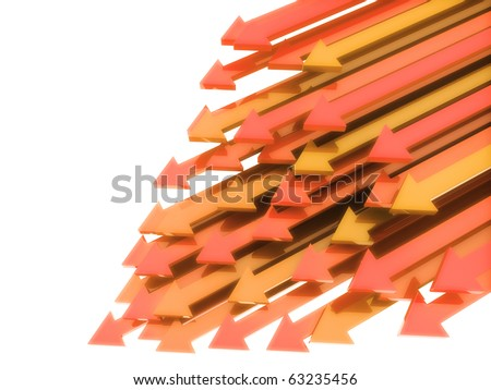 Abstract background with orange diagonal arrows in motion on white