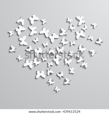 Abstract  background with paper  butterfly in the heart form. Raster version.