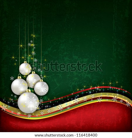 Abstract background with pearl Christmas decorations on green - stock photo