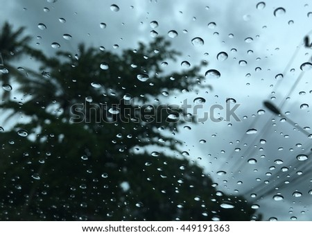 Abstract Background  with rain drops on car window