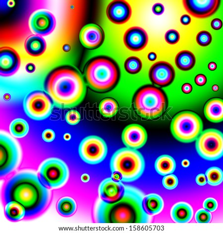 Abstract background with rainbow circles.
