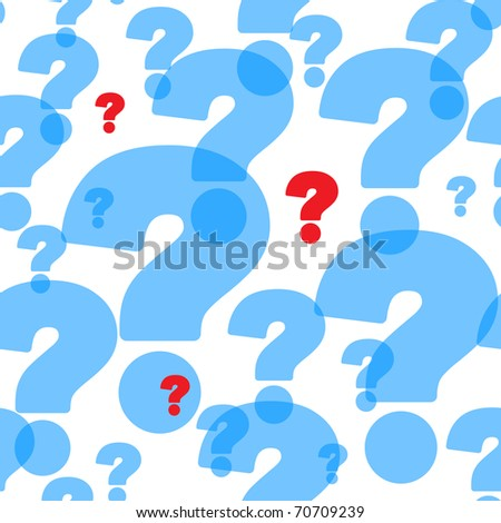 Abstract background with red and transparent blue question marks. Seamless pattern for your design. Raster illustration. - stock photo