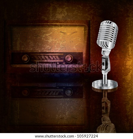 abstract background with retro microphone and radio - stock photo