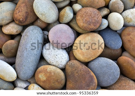 abstract background with round peeble stones - stock photo
