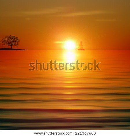 Abstract background with sea sunrise and tree on horizon - stock photo