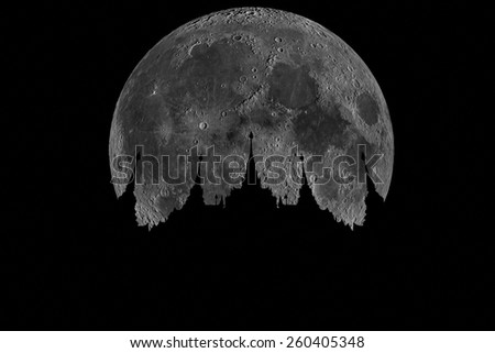 abstract background with silhouette of Thai temple and big moon - stock photo