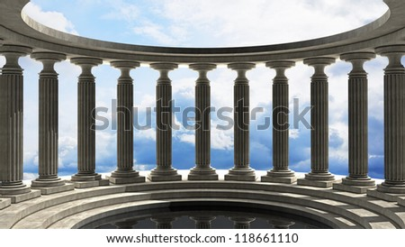 abstract background with sky and Old columns is ancient style. High resolution Realistic 3D illustration - stock photo