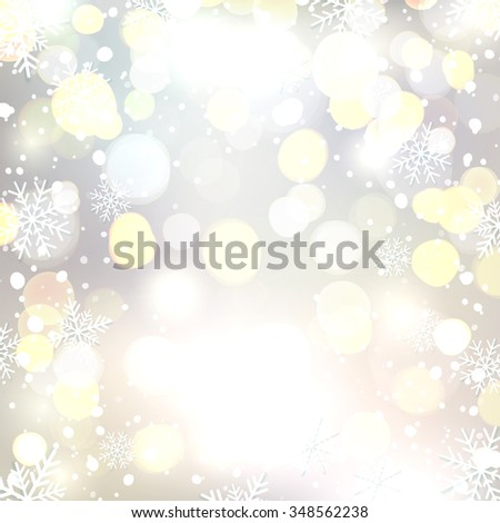 Abstract background with snow and snowflakes. Bokeh circles. Christmas background. - stock photo