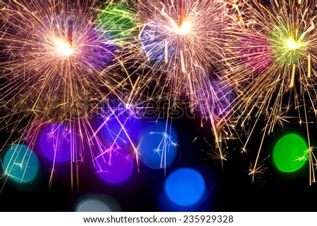 abstract background with sparklers - stock photo