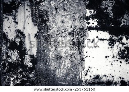 Abstract  background with spotlight and scratches. Black and white  Dark grunge textured wall closeup for design. Grungy blackboard. - stock photo