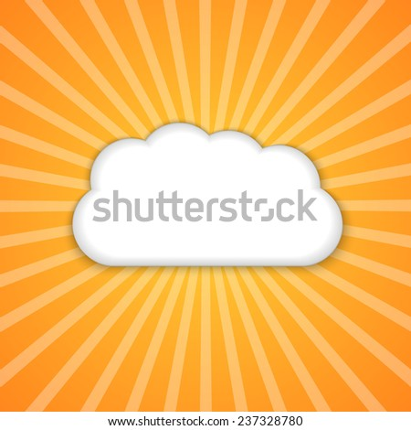 Abstract background with sun and clouds.