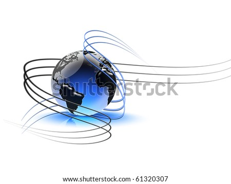 abstract background with the planet and the waves - stock photo