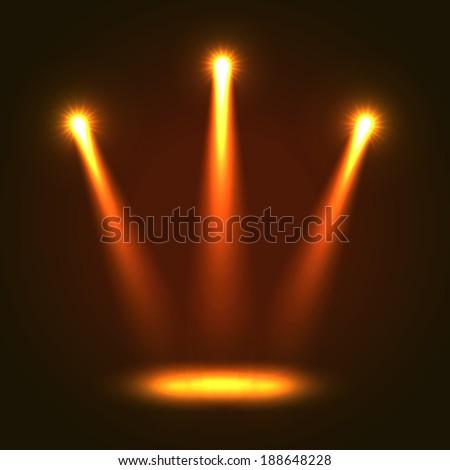 Abstract Background With Three Bright Projectors - stock photo