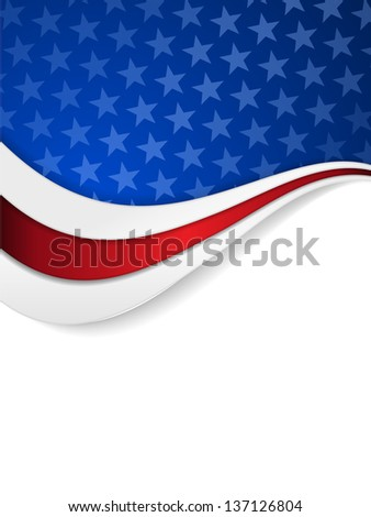 Abstract background with wavy pattern and space for your text.Stars on dark blue background with wavy stripes in red and white make it a great backdrop for USA themes, like Independent Day, etc.  - stock photo