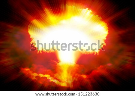 Abstract background with white light in center with nuclear explosion, concept illustration - stock photo