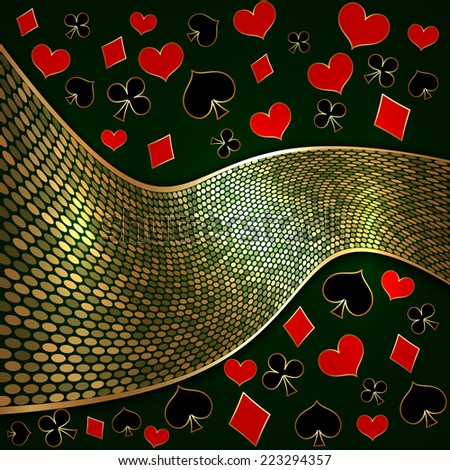 abstract background with wide golden ribbon and playing cards suits