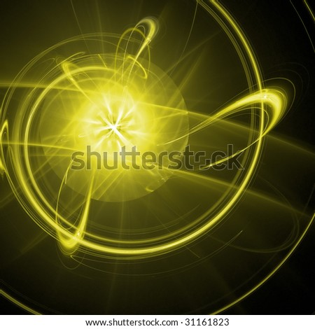 Abstract background. Yellow - white palette. Raster fractal graphics.