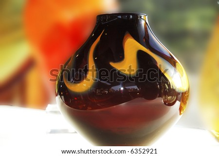 Abstract backlit vase against the natural sunlight - stock photo