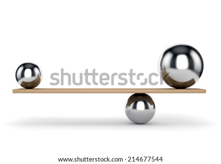 Abstract balance and harmony concept. Metal balls on plank isolated on white background. - stock photo