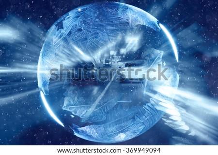 Abstract ball of ice magic - stock photo
