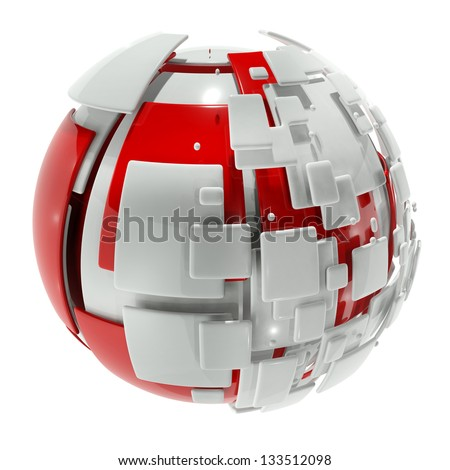 abstract ball with segments - stock photo