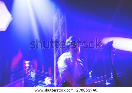 Abstract band musician on stage live concert , motion blur  - stock photo