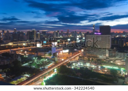 Abstract Bangkok skyline cityscape in twilight time oil paint concept