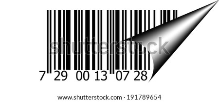 Abstract barcode security pattern background  with  curved corner