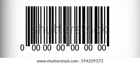 Abstract barcode security pattern  on white background with black vignette