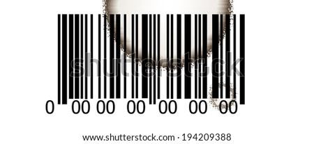 Abstract barcode security pattern  on white background with coffee stains - stock photo