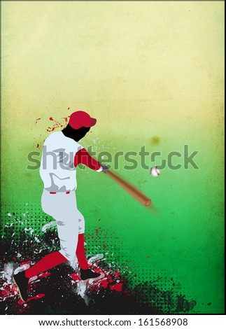 abstract baseball sport poster or flyer background with space - stock photo