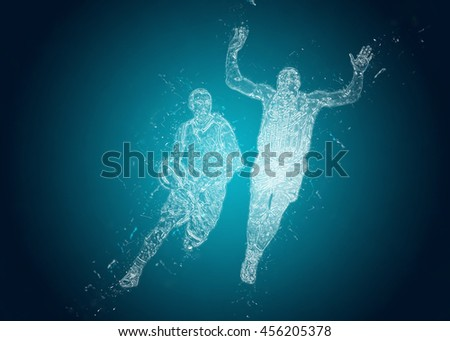 Abstract Basketball players in action. Crystal ice effect - stock photo