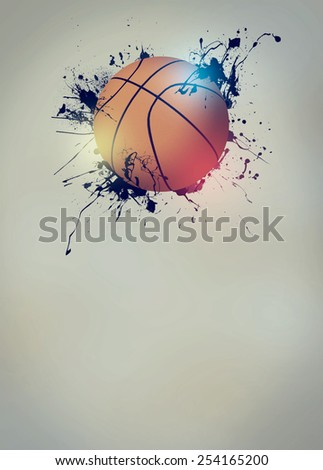 Abstract basketball sport invitation poster or flyer background with empty space - stock photo