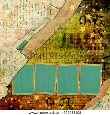 Abstract beautiful background in the style of mixed media with alienated paper - stock photo