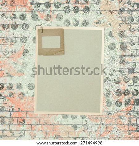 Abstract beautiful background in the style of mixed media with floral ornament, words and figures - stock photo
