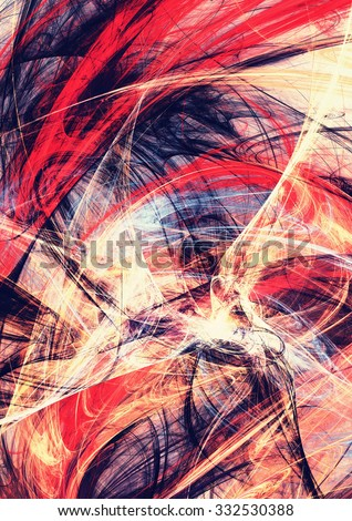Abstract beautiful blue and red bright color background. Dynamic painting texture. Modern futuristic pattern. Fractal artwork for creative graphic design - stock photo