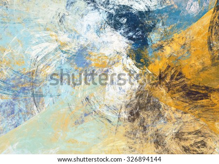 Abstract beautiful blue and yellow soft color background. Dynamic painting texture. Modern futuristic pattern. Fractal artwork for creative graphic design