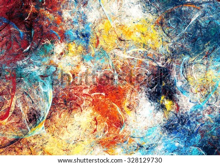 Abstract beautiful blue, red and yellow  bright color background. Dynamic painting texture. Modern futuristic pattern. Fractal artwork for creative graphic design - stock photo