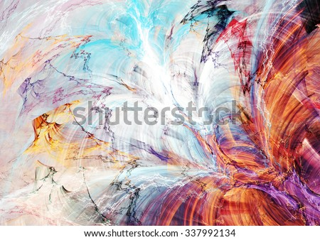 Abstract beautiful blue, red, purple and yellow bright color background. Dynamic painting texture. Modern futuristic pattern. Fractal artwork for creative graphic design - stock photo