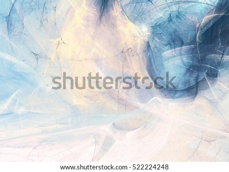 Abstract beautiful blue, yellow and pink color smoke background. Nice painting texture. Soft pattern with lighting effect. Fractal artwork for creative graphic design
