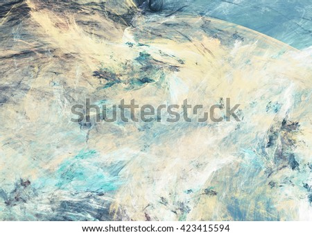 Abstract beautiful blue, yellow and white soft color background. Dynamic painting texture. Modern futuristic pattern. Fractal artwork for creative graphic design - stock photo