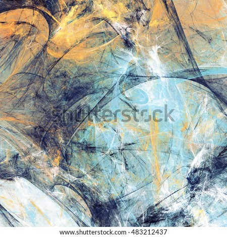 Abstract beautiful blue, yellow and white soft color background. Dynamic painting texture. Modern futuristic pattern. Fractal artwork for creative graphic design