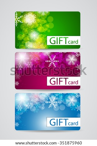Abstract Beautiful Gift Card Christmas Design Set, Illustration.