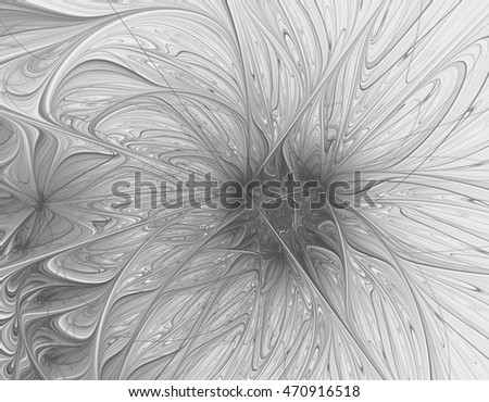 Abstract beautiful grey flower on white background