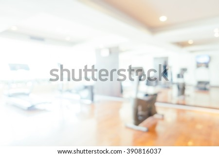 Abstract beautiful luxury blur gym and fitness room interior for background