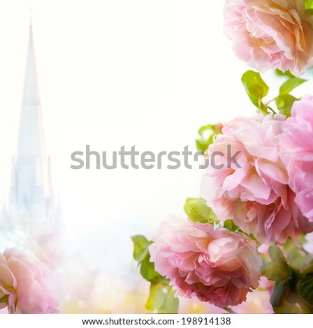 abstract Beautiful morning floral border background  - stock photo