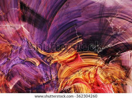 Abstract beautiful purple, red and yellow bright color background. Dynamic painting texture. Modern futuristic pattern. Fractal artwork for creative graphic design