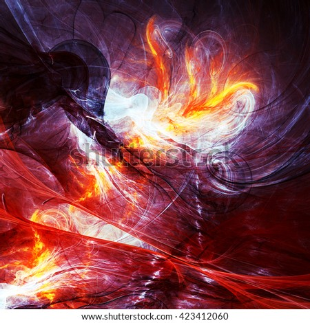 Abstract beautiful purple, red and yellow bright color background with lighting effect. Dynamic painting texture. Modern futuristic dark smoke pattern. Fractal artwork for creative graphic design - stock photo