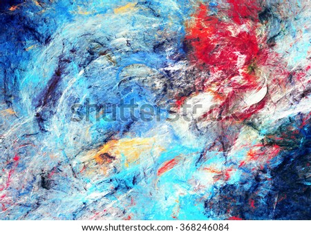 Abstract beautiful red and blue bright color background. Dynamic painting texture. Modern futuristic pattern. Fractal artwork for creative graphic design - stock photo